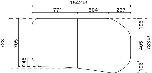 変形組合せ風呂ふた 783mm×1542mm 2枚割