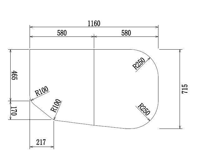 変形組合せ風呂ふた 715mm×1160mm 2枚割