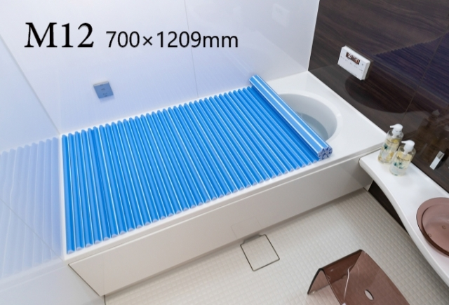 【送料無料】東プレ お掃除カンタン!カラーウェーブ風呂ふた M12 ブルー 70×120cm用