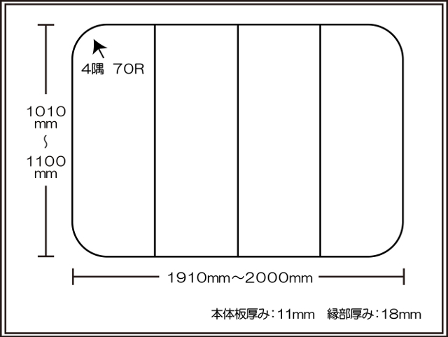 【日本製】寮や民宿などの大型浴槽のお風呂のふた ビックセーション 1010~1100×1910~2000mm 4枚割
