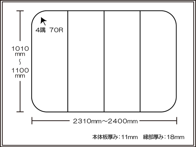 【日本製】寮や民宿などの大型浴槽のお風呂のふた ビックセーション 1010~1100×2310~2400mm 4枚割