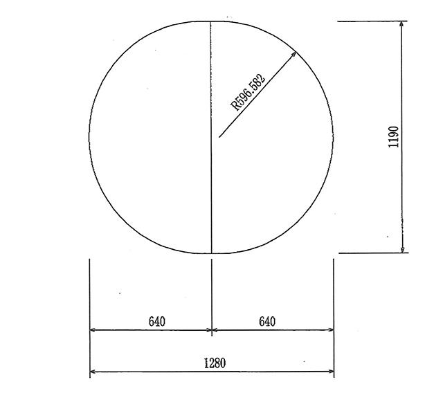 楕円型 変形組合せ風呂ふた 1190mm×1280mm 2枚割