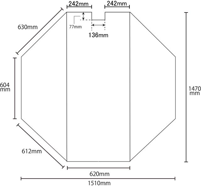 変形組合せ風呂ふた 1470mm×1510mm 3枚割