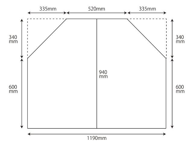 変形組合せ風呂ふた 940mm×1190mm 2枚割 (台形)