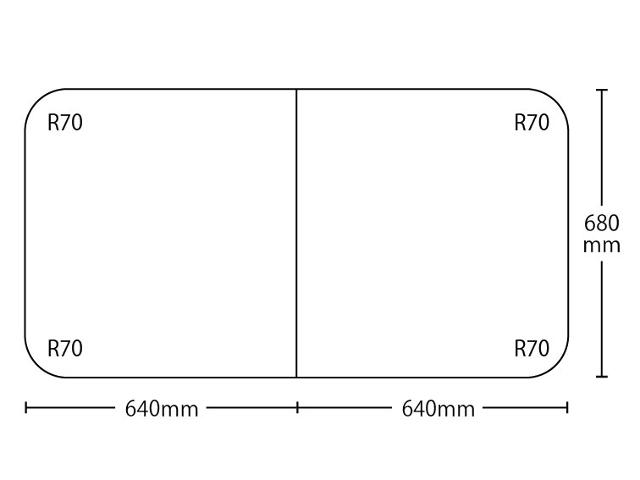 【送料無料】冷めにく~い風呂ふた特別サイズ 奥行680mm×間口1280mm 2枚割