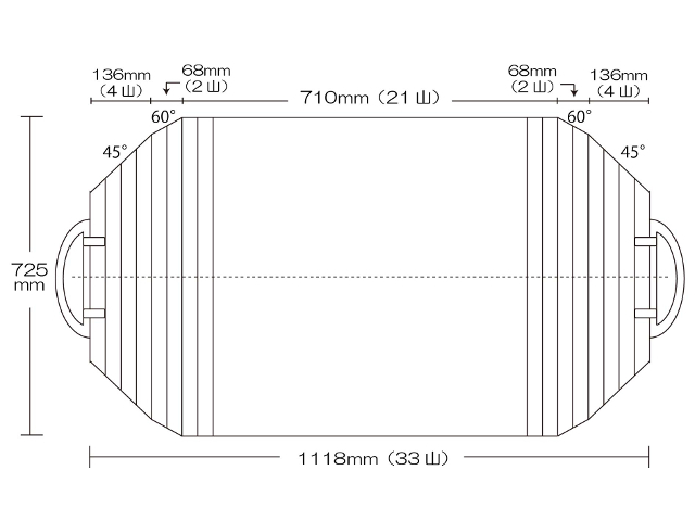 取っ手付き変形巻きふた 725mm×1118mm