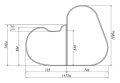 【送料無料】変形組み合わせ風呂ふた 1090mm×1473mm 2枚割 (SSタイプ)右側大タイプ
