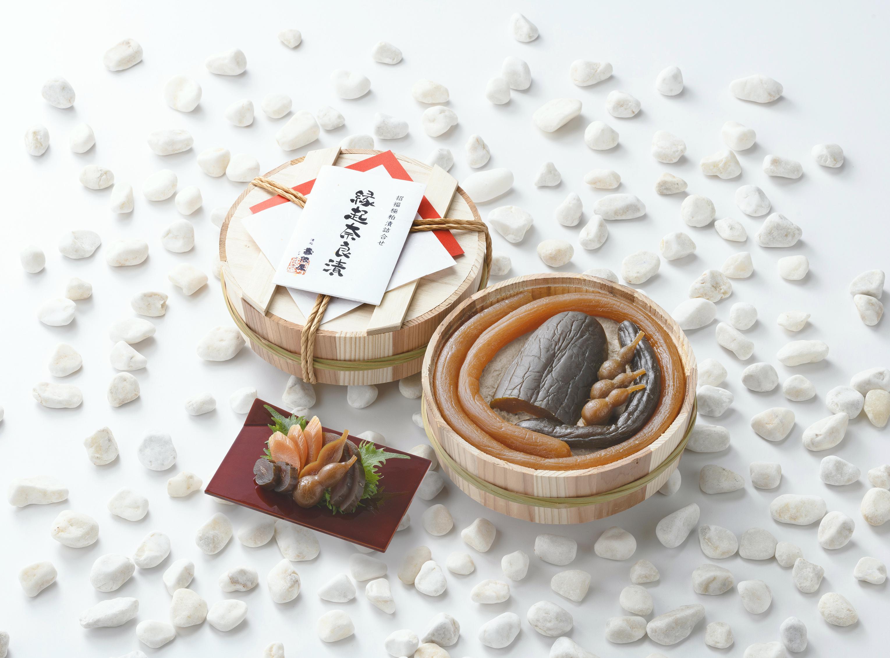 縁起 奈良漬 木樽30号 最上の漬物をもう一度特別調合した漬粕で仕上げた至高の米三仕込み 守口漬とうり、きゅうり、ひょうたん奈良漬の詰合せ