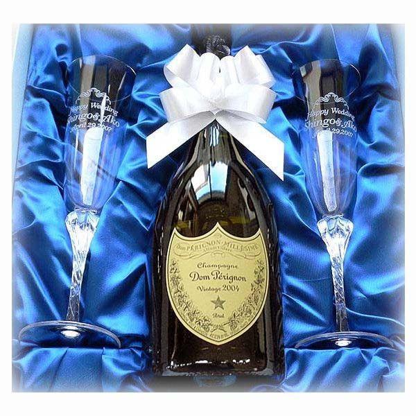 名入れ シャンパン ペアグラスAセット (ドンペリニヨン白2009年 & クリスタルグラス)