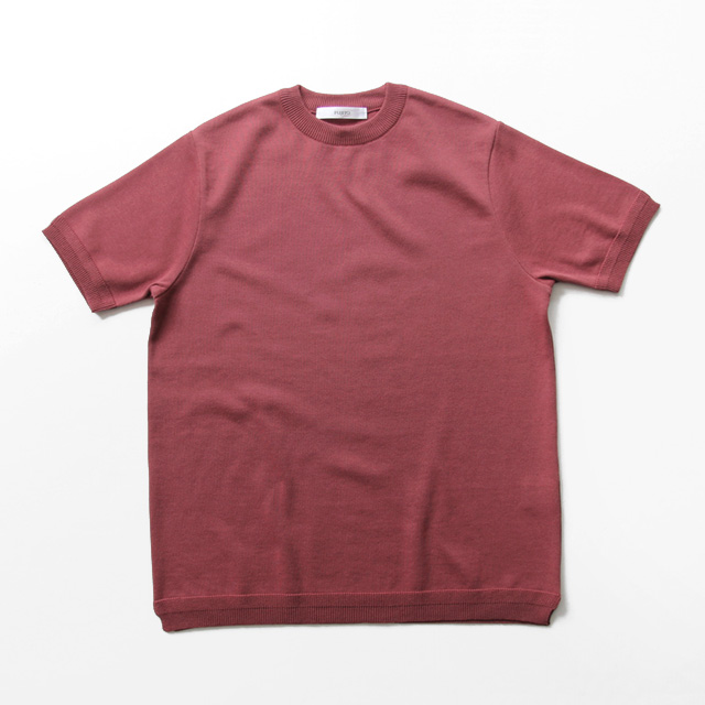 FUJITO / Crew Neck Knit T-shirt - Red Purple
