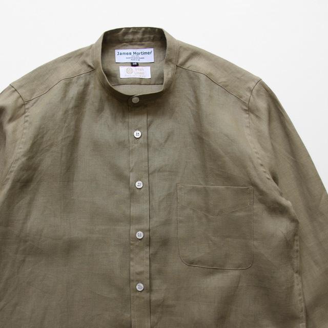 James Mortimer / Band Collar Shirt - Irish Linen/Coffee