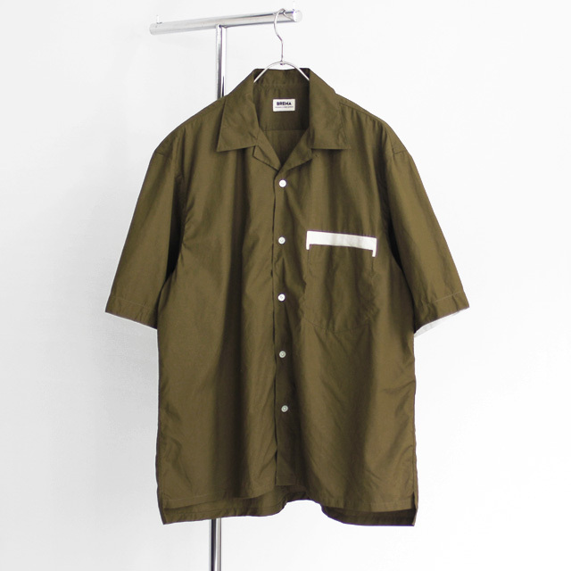 BRENA / Open Collar Shirt SS - Olive