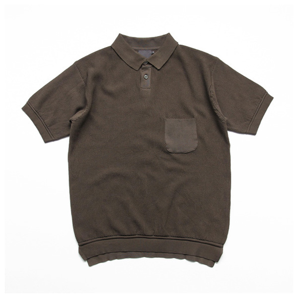 comm. arch. / Knitted Polo Moss Stetch - Mud Brown