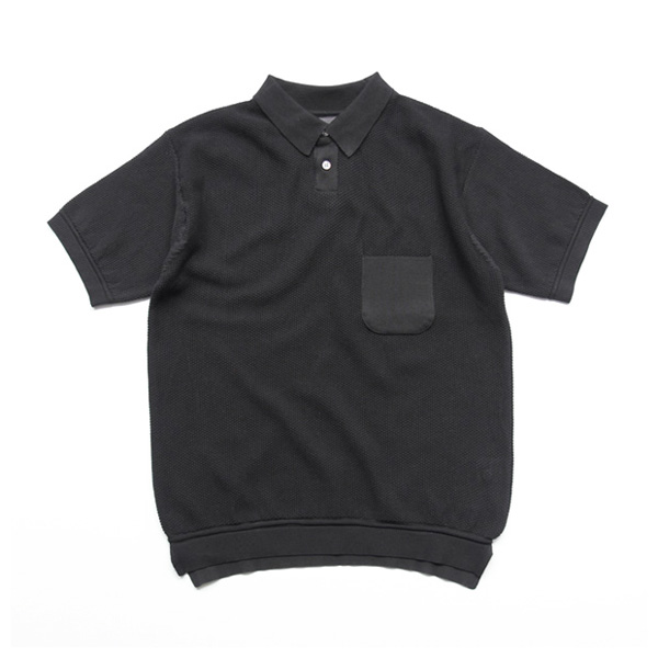 comm. arch. / Knitted Polo Moss Stetch - Black Out