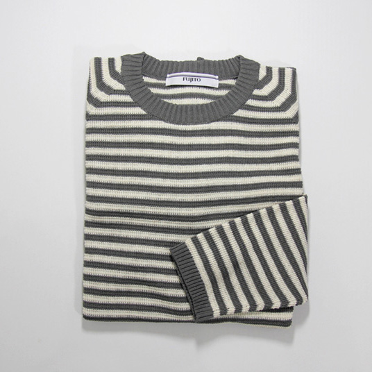 FUJITO / Border Knit Sweater - Grey