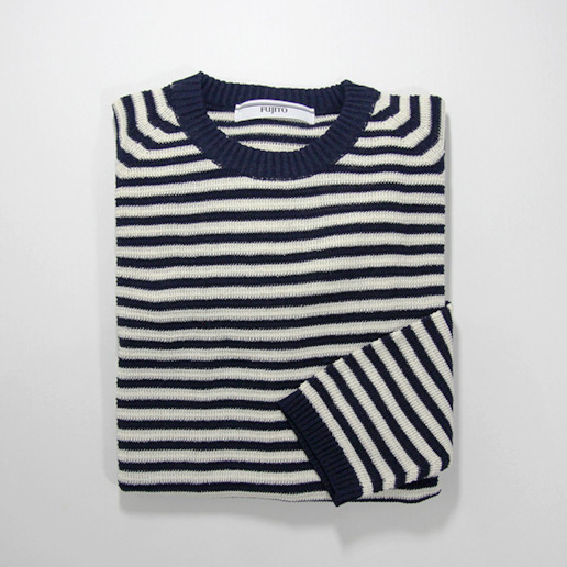 FUJITO / Border Knit Sweater - Navy
