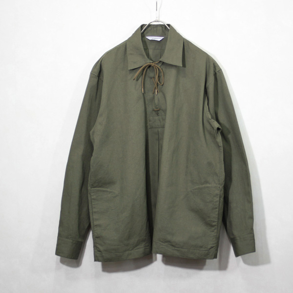 <35% OFF> FUJITO / Lace Up Shirt - Khaki