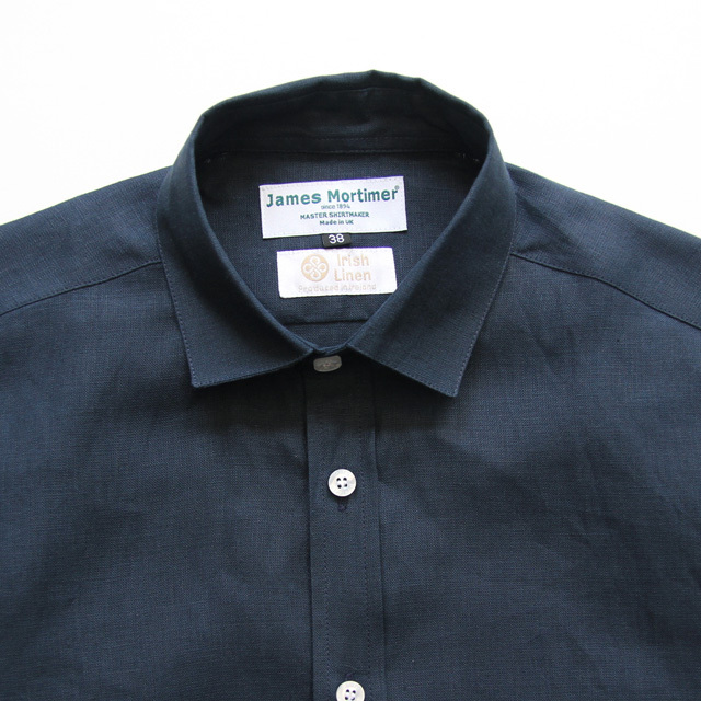 James Mortimer / Regular Collar Shirt - Irish Linen/Navy