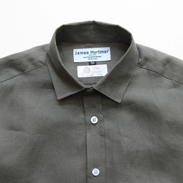 James Mortimer / Regular Collar Shirt - Irish Linen/Smmer Peat
