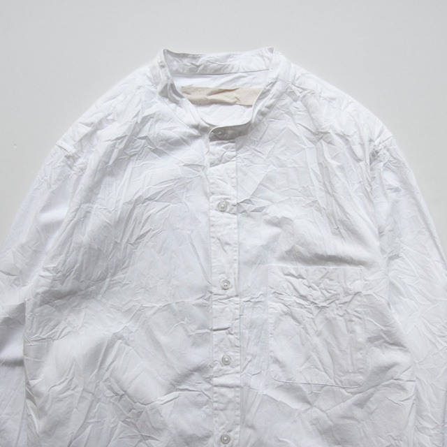Vas-y Lentement / Band Collar Shirt - White