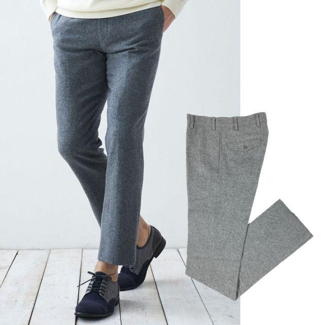 [ネット通販限定品]マット・ウーステッド起毛ウール混スラックス パンツ メンズ 15584 G-stage(ジーステージ)