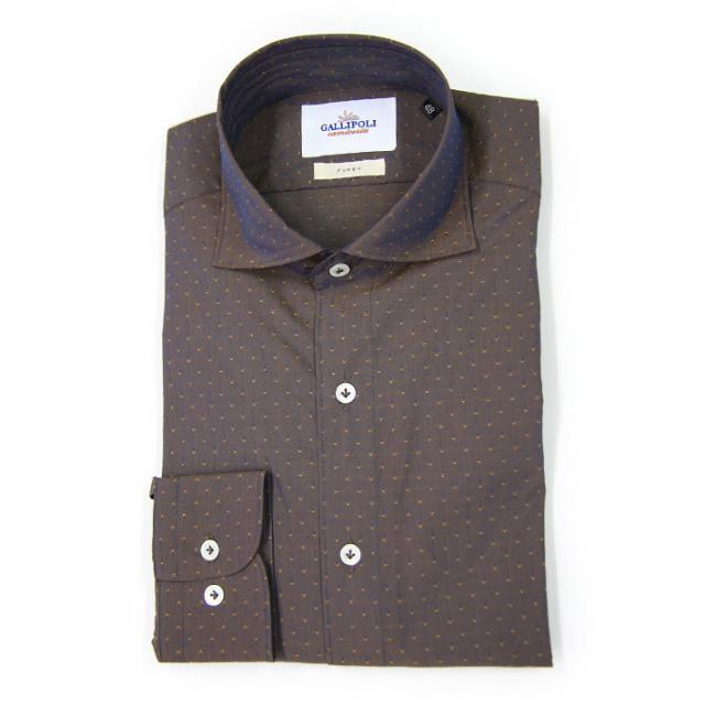 [ネット通販限定] GALLIPOLI camiceria(ガリポリカミチェリア) イタリア製 ドビー織りドットジャガードカッタウェイ長袖シャツ イタリア製シャツ  160652-136