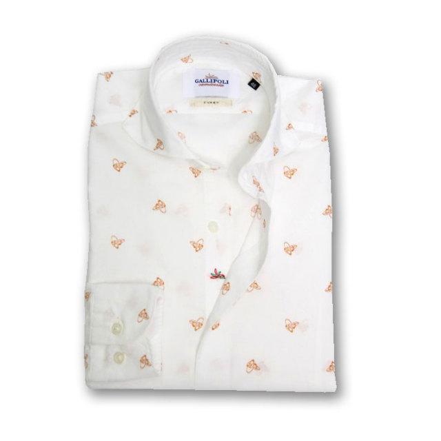 GALLIPOLI camiceria(ガリポリカミチェリア) 日本製 ジャパンファブリックシュープリントシャツ 160656