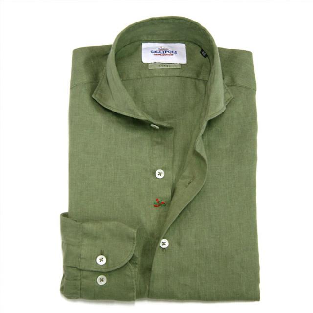 GALLIPOLI camiceria(ガリポリカミチェリア) 日本縫製 カラーガーメントダイリネンカッタウェイ長袖シャツ 160669-016