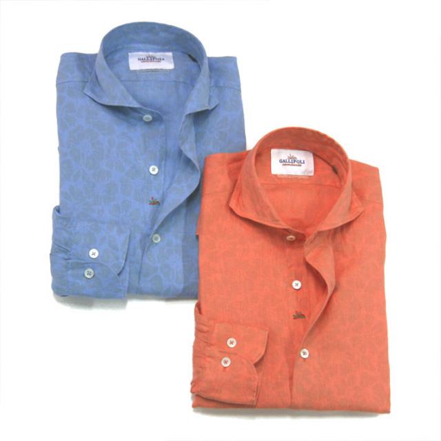 SALEGALLIPOLI camiceria(ガリポリカミチェリア) 日本縫製 オリジナルプリントカラーガーメントダイリネンカッタウェイ長袖シャツ 160669