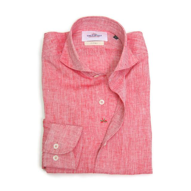 SALE  GALLIPOLI camiceria(ガリポリカミチェリア) 日本製 無地リネン100%長袖カッタウエイシャツ レッド 麻シャツ リネンシャツ  160675-013