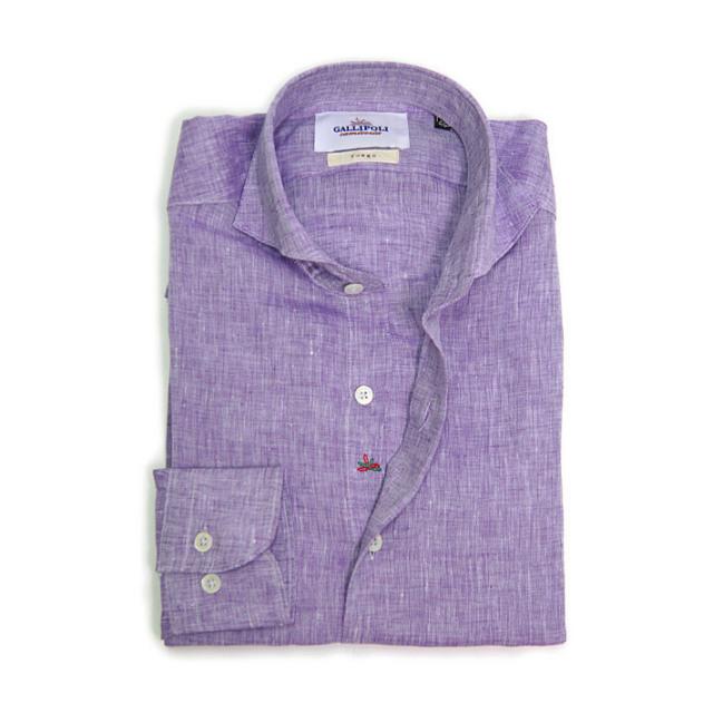 SALE GALLIPOLI camiceria(ガリポリカミチェリア) 日本製 無地リネン100%長袖カッタウエイシャツ パープル 麻シャツ リネンシャツ  160675-017