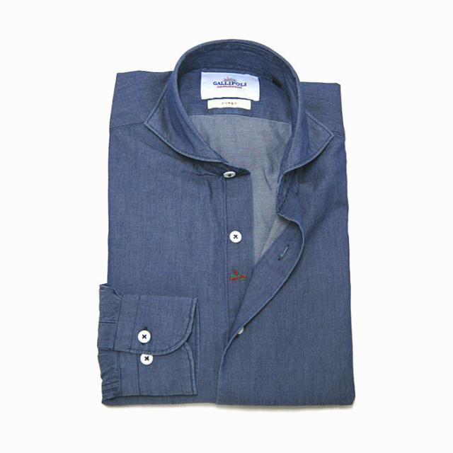 GALLIPOLI camiceria(ガリポリカミチェリア) 日本製 インディゴウォッシュストライブシャツ インディゴ ネイビー 160678-010[粋なスタイルインディゴコーデ]