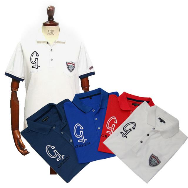 [父の日ギフト対象商品] GREEN CLUBS(グリーンクラブズ) 吸汗速乾ロゴワッペン半袖カラースポーツポロ 161520 ポロシャツ