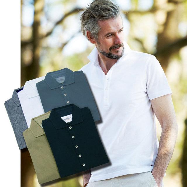 WEB限定価格 GALLIPOLI  製品染め洗い加工コットン鹿の子半袖カラーポロ ホワイト ネイビー ベージュ グレー ブルーグレー 161550 ポロシャツ