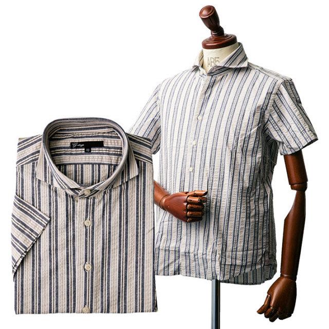 サッカー生地ストライプカッタウェイ半袖シャツ シャツ メンズ 半袖 コットン 綿 ストライプ サッカー161686 G-stage(ジーステージ) ポロシャツ