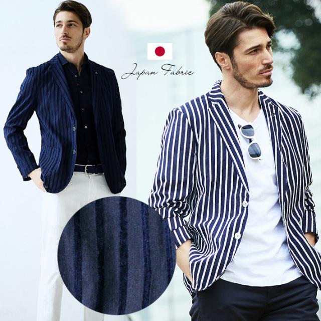日本製播州織生地 モールストライプ 軽量 綿100% シャツジャケット ホワイト ベージュ ネイビー イエロー 190215 G-stage ジーステージ