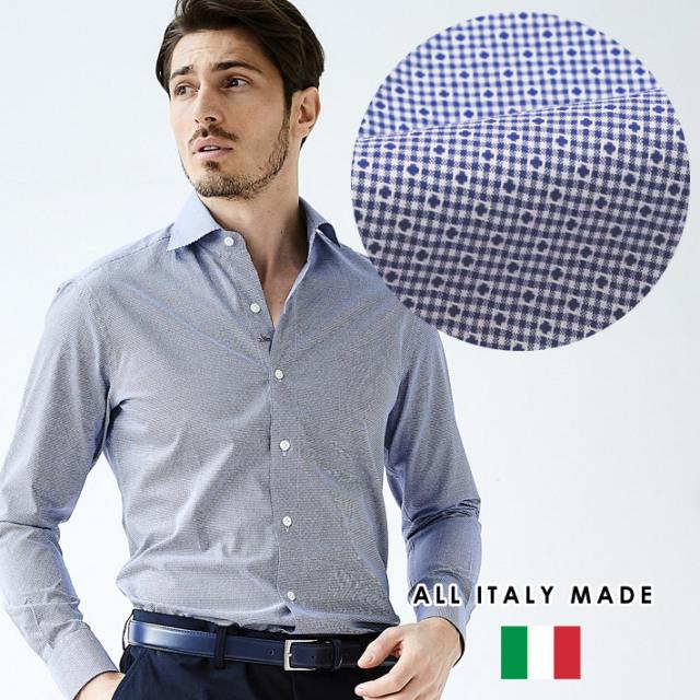 SALE イタリア製 カジュアルシャツ 小紋柄 セミワイド ブルー  イタリア製シャツ ビジネスシャツ  190652-010 GALLIPOLI camiceria ガリポリカミチェリア