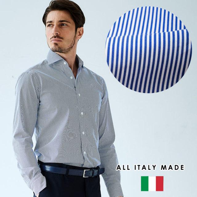 イタリア製 カジュアルシャツ ブルーストライプ柄 セミワイド イタリア製シャツ ビジネスシャツ 190652 GALLIPOLI camiceria ガリポリカミチェリア