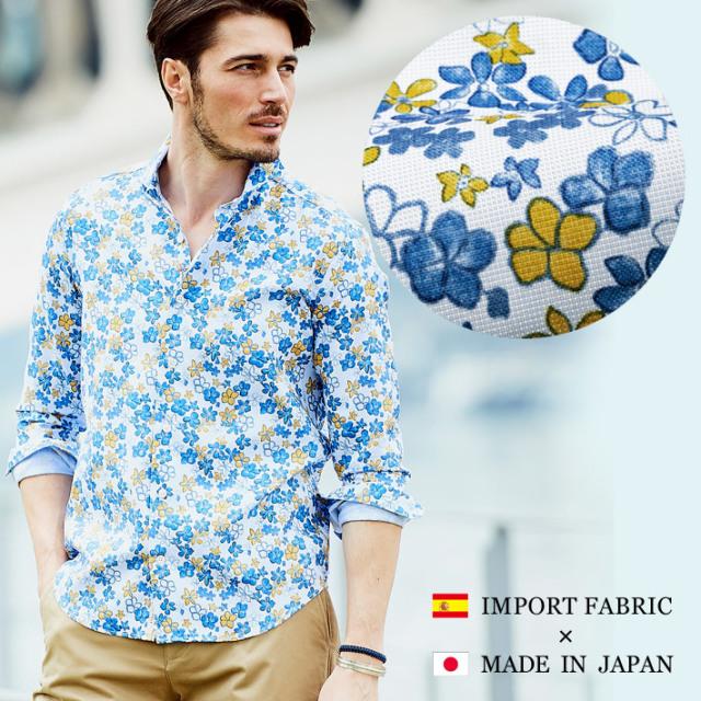 日本製スペイン製生地 フラワー柄織生地 カジュアルシャツ 長袖 カッタウエイ ブルー系 190661 GALLIPOLI camiceria(ガリポリカミチェリア)