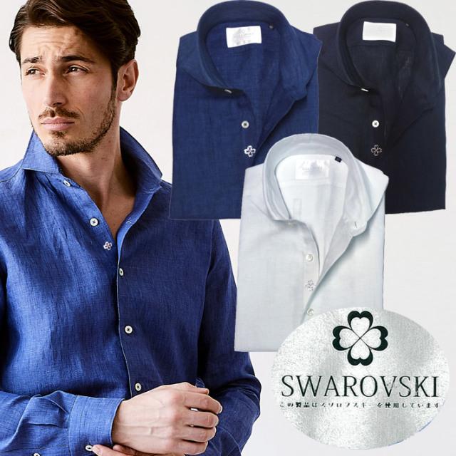SALE 日本製 麻100%ドレスシャツ スワロフスキー ホワイトレーベル ドレスシャツ 190669 GALLIPOLI camiceria ガリポリカミチェリア