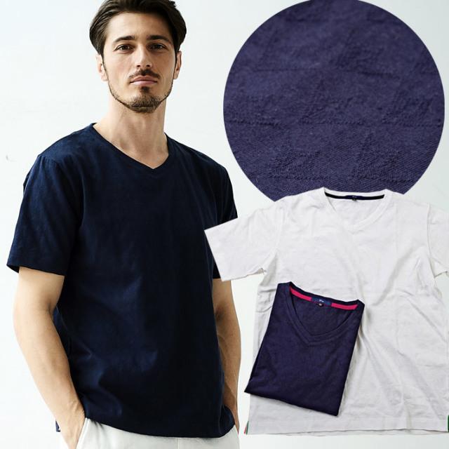ジャガード織り 半袖Tシャツ 綿 ホワイト ネイビー デザインTシャツ Uネック 無地 191504 G-stage ジーステージ