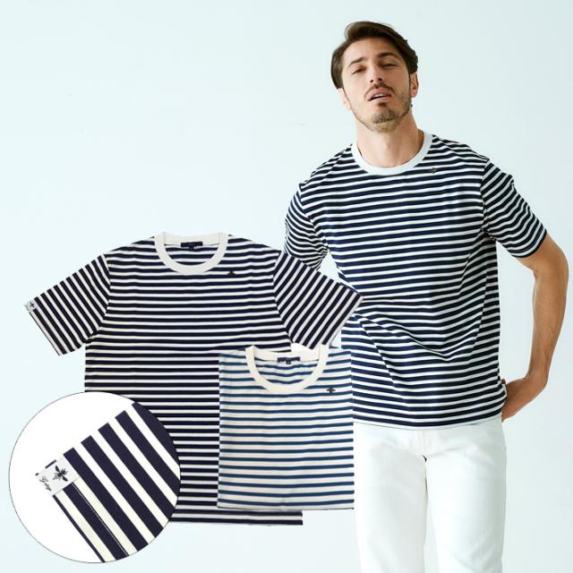 天竺マリンボーダー 半袖Tシャツ 綿 ブルー ネイビー デザインTシャツ クルーネック ボーダー 191505 G-stage ジーステージ