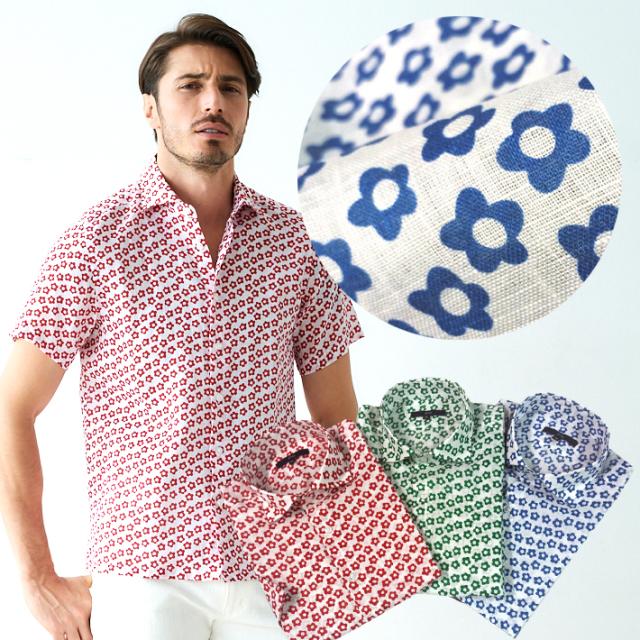 麻100%小花プリントショートスリーブシャツ 半袖リネンシャツ メンズシャツ ブルー レッド グリーン 191609 G-stage ジーステージ