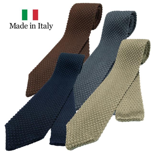 ネクタイ ニットタイ イタリア製 シルク100% ベージュ グレイ ネイビー ブラウン 19ati5 GALLIPOLI camiceria(ガリポリカミチェリア)