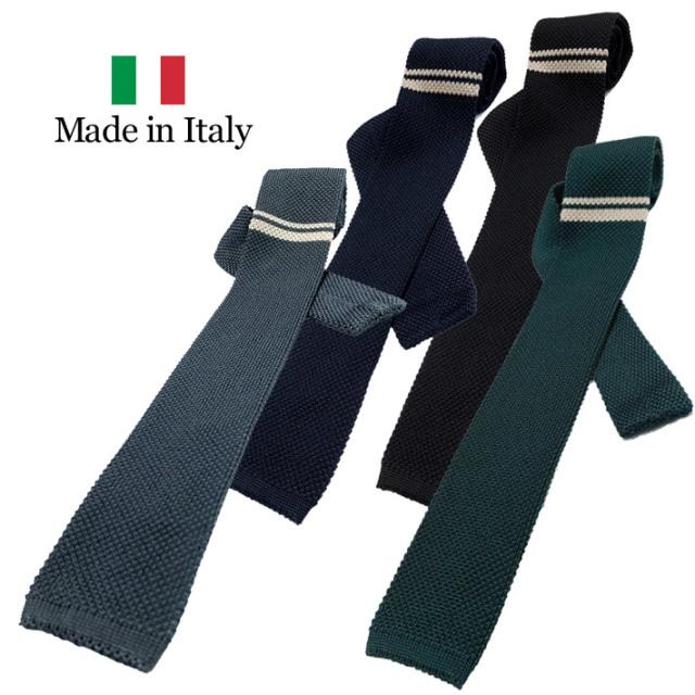 ネクタイ ニットタイ イタリア製 シルク100% ワンポイント グレイ ネイビー グリーン ブラック 19ati6 GALLIPOLI camiceria(ガリポリカミチェリア)