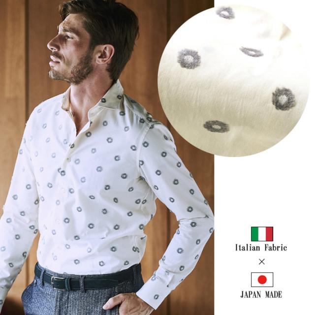 63e8f84314 日本製 花柄 ジャガード織り柄 メンズシャツ コットン カッタウェイ 長袖 カジュアルシャツ イタリア