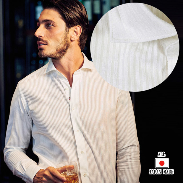 日本製 シャツ モールストライプ メンズシャツ コットン カッタウェイ 長袖 カジュアルシャツ ホワイト 280664-001 GALLIPOLI camiceria(ガリポリカミチェリア)