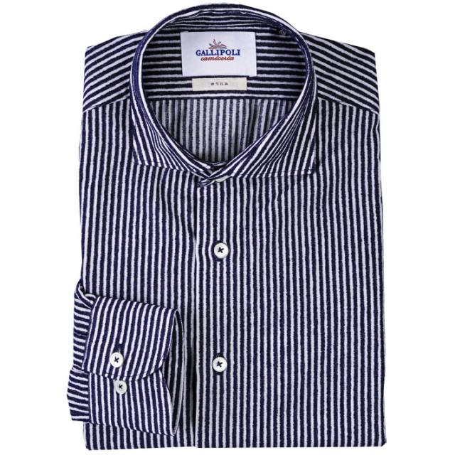 8493da6a71 日本製 シャツ モールストライプ メンズシャツ コットン カッタウェイ 長袖 カジュアルシャツ ネイビー 280664-009 GALLIPOLI  camiceria(ガリポリカミチェリア)