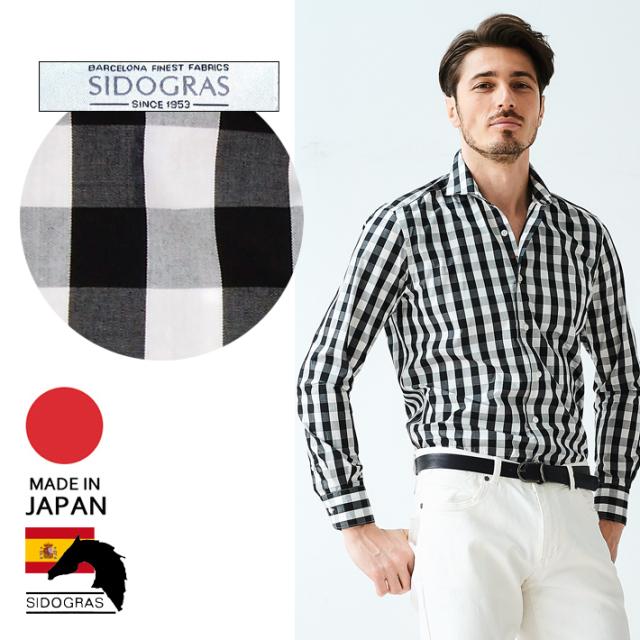 日本製 メンズシャツ チェック柄 コットン カッタウェイ 長袖 カジュアルシャツ スペイン生地 280668 GALLIPOLI camiceria(ガリポリカミチェリア)
