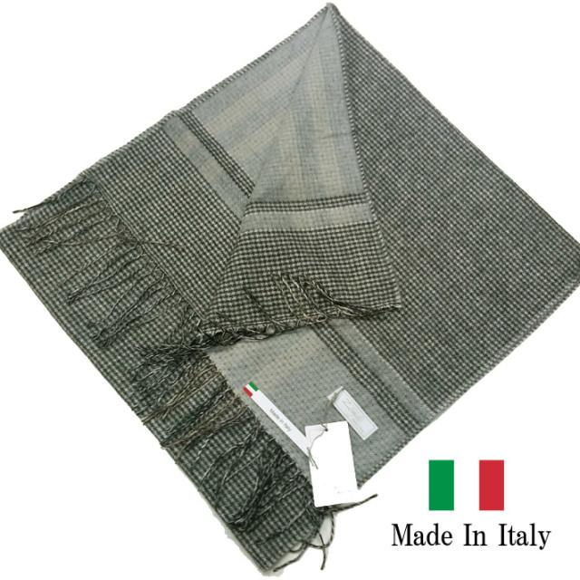 SALE イタリア製  秋冬 マフラー ストール 千鳥 ダブルフェイス グレー 281903-104